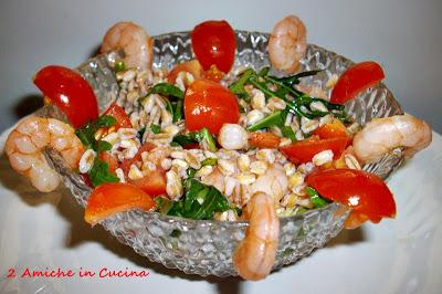 Insalata di Farro, Gamberi, Pomodori e Rucola