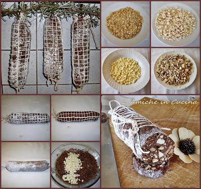 salame di cioccolato con nocciole e nutella