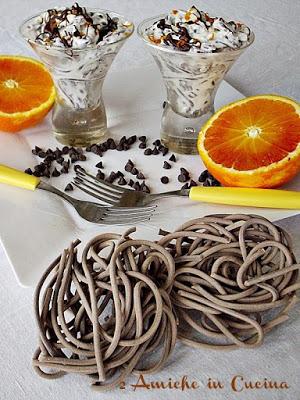 Strangozzi al Cacao con Crema di Ricotta all'Arancia e Cioccolato Fondente