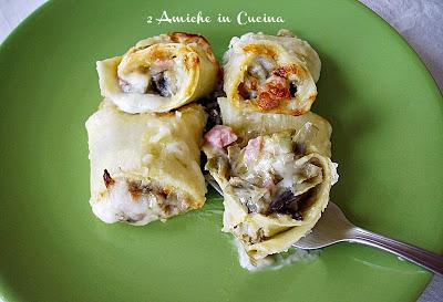 Rotolini di Pasta ai Carciofi e Prosciutto Cotto