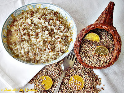 Risotto con capretto e lenticchie di Colfiorito, ricetta benaugurale per Capodanno
