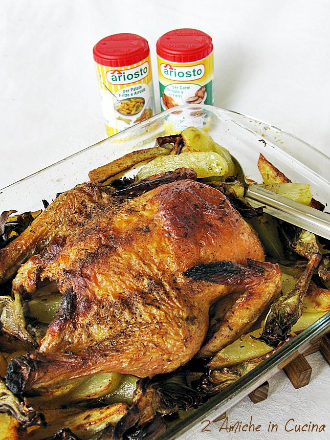 pollo cotto in forno con patate e carciofi