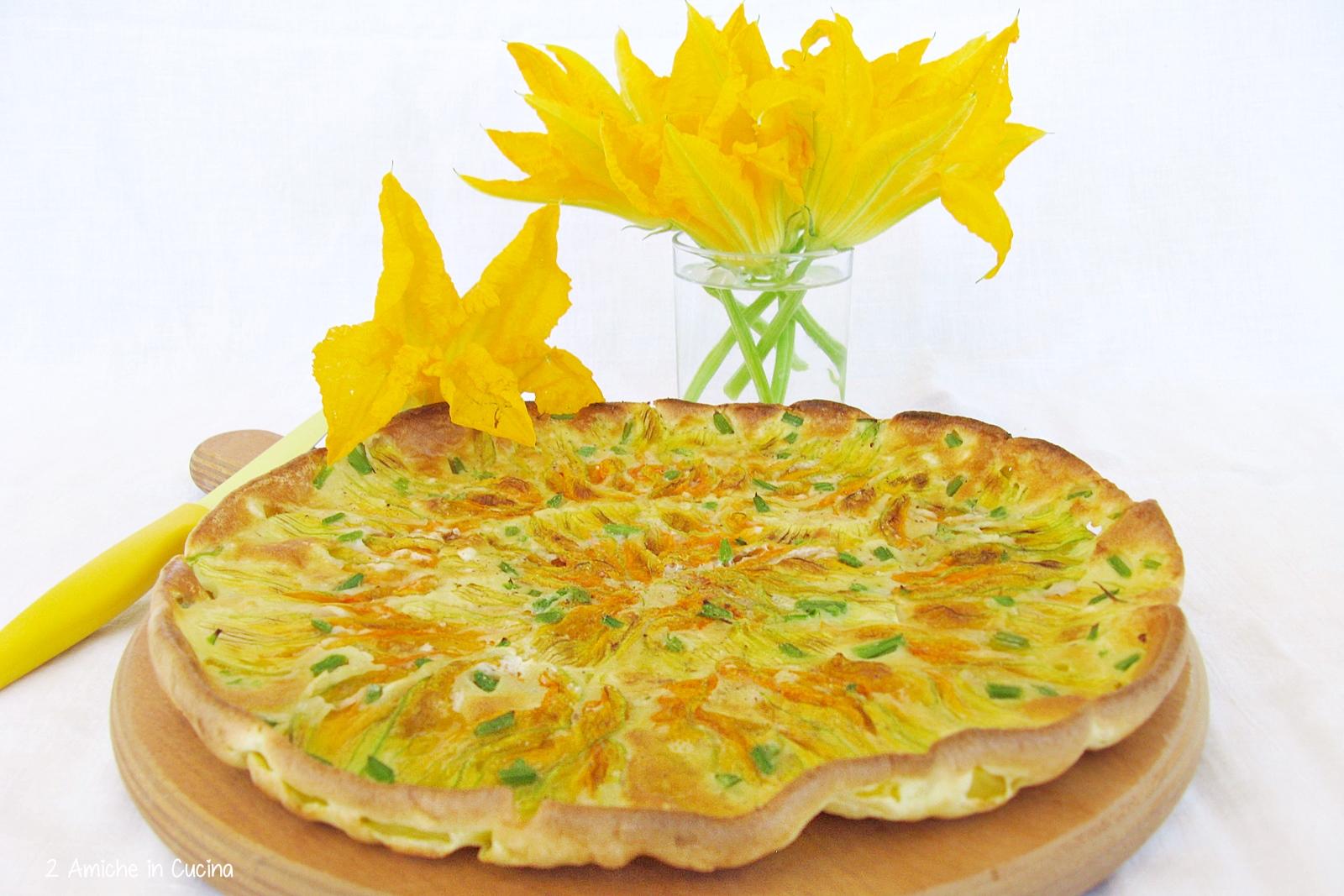 Pizza di pastella e fiori di zucca di Sabrina