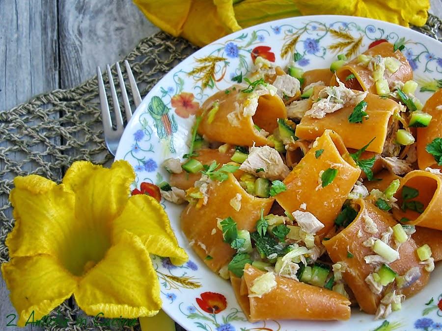 Maccheroni al Peperoncino con Zucchine, Tonno e Fiori di Zucca