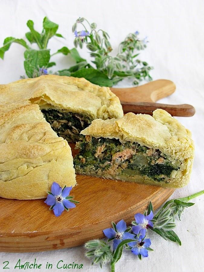 Torta Salata con Borragine e Salmone