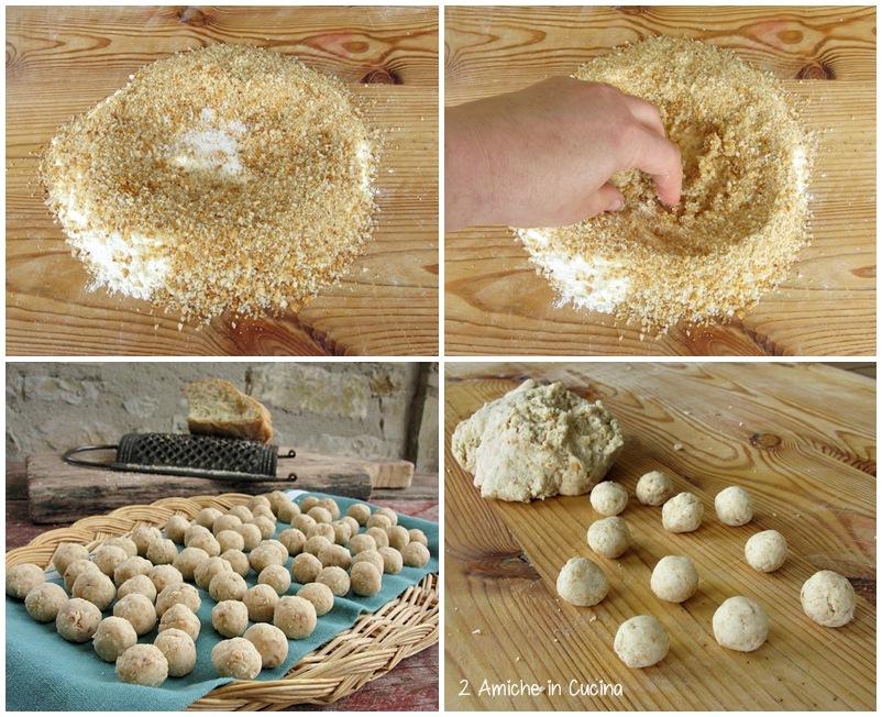 gnocchi di pane con roveja, guanciale e pecorino preparazione