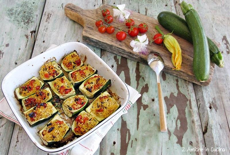 Barchette di zucchine ripiene di miglio, erbe aromatiche e pomodorini 2