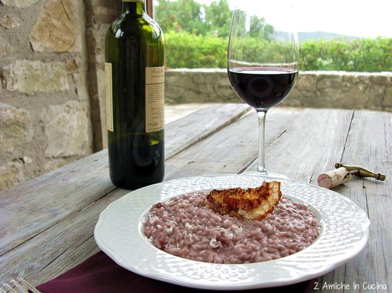 Risotto al Sagrantino di Montefalco con pecorino di Norcia e guanciale croccante