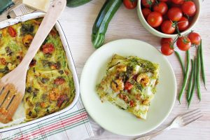 Lasagne al pesto di zucchine con gamberetti e zucchine