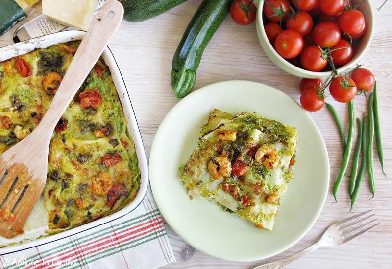 Lasagne al pesto di zucchine con gamberetti e fagiolini