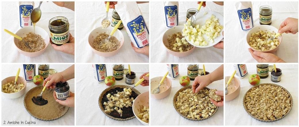 Crostata d'orzo e avena  con confettura di sambuco, mele e miele preparazione passo passo