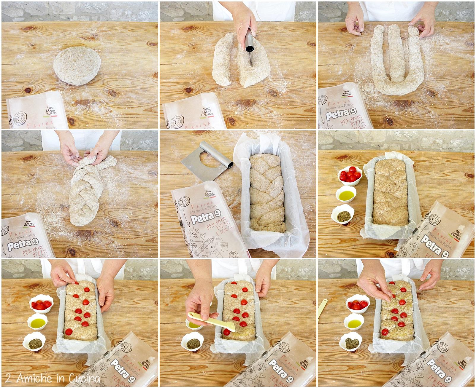 Pane integrale alle patate e cipolle con pomodorini e origano preparazione