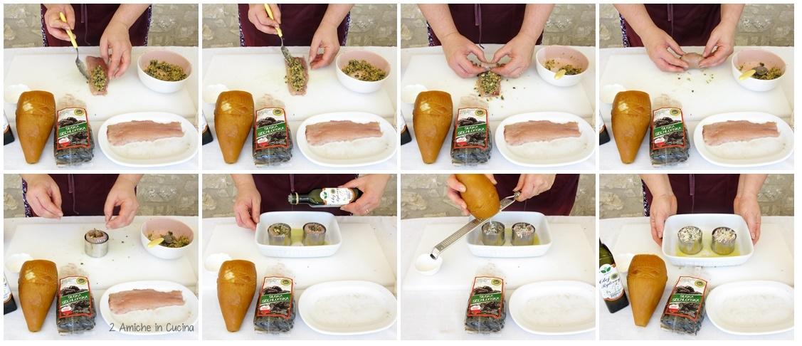 Turbante di trota alle nocciole, prugne e Oscypek,con crema di zucca aromatica e cipolline in agrodolce  preparazione