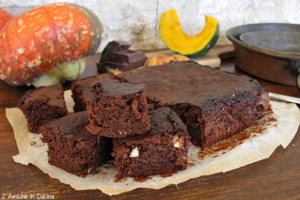 Brownies alla zucca con cioccolato fondente