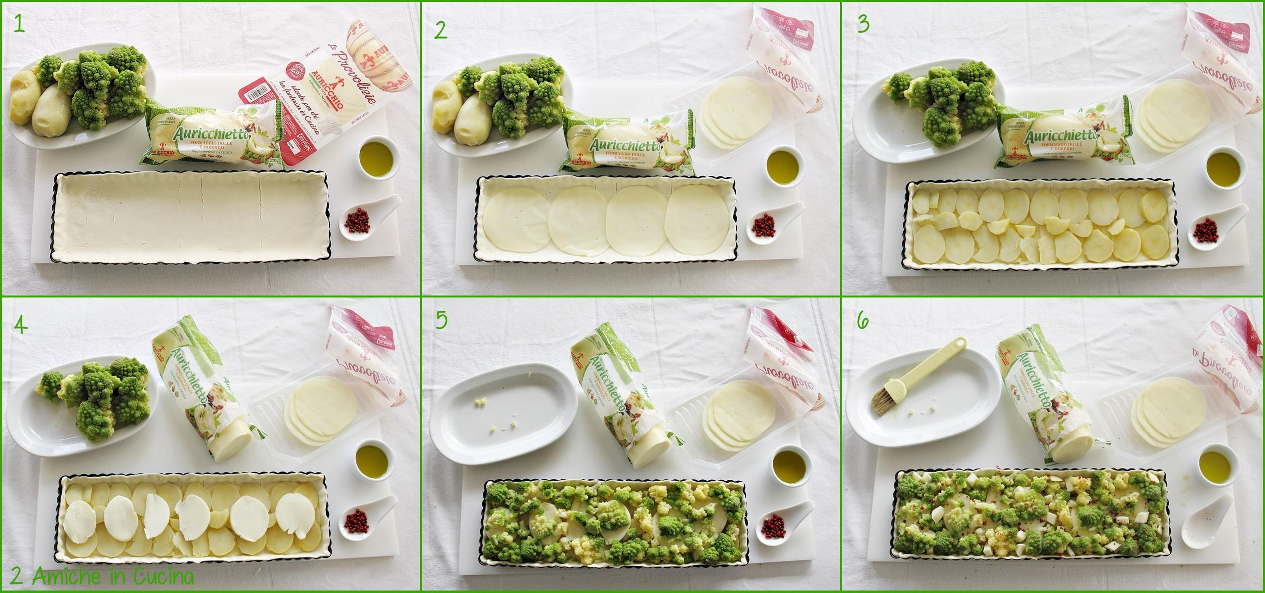 Torta salata con broccolo romano, patate e Auricchio preparazione passo passo