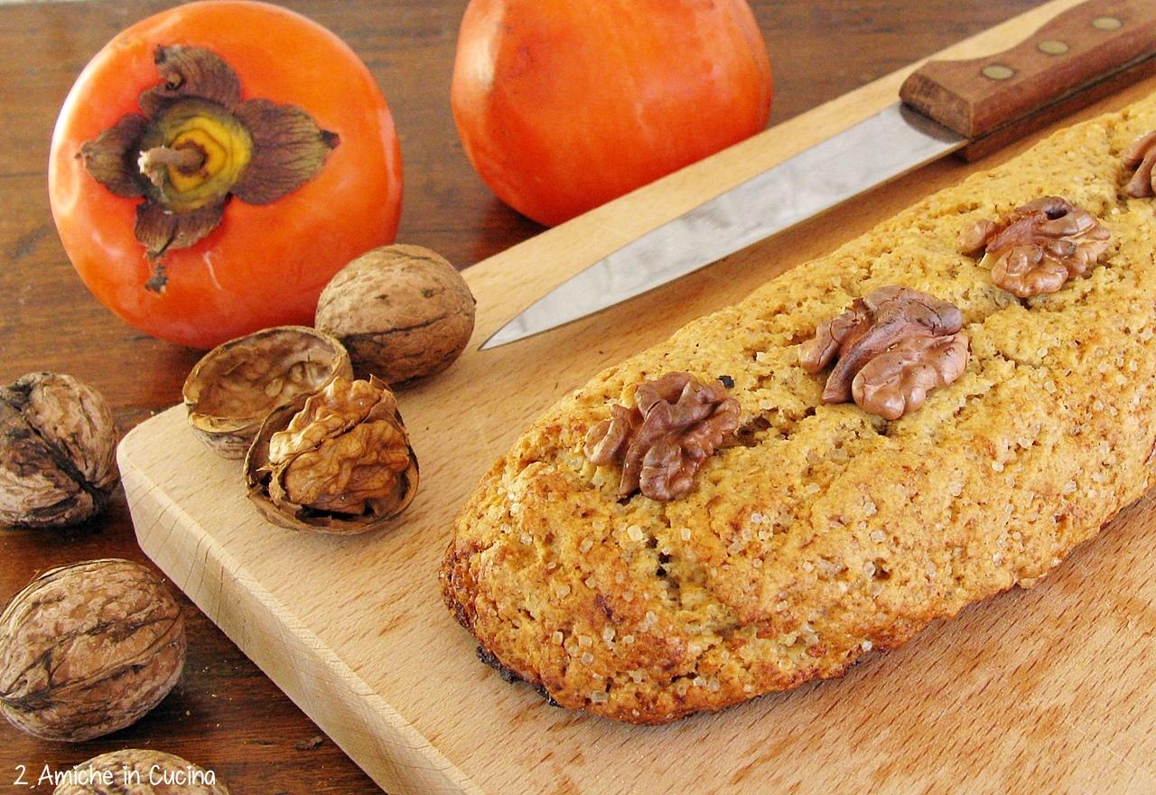 Biscotti al farro e orzo con cachi, noci e cioccolato