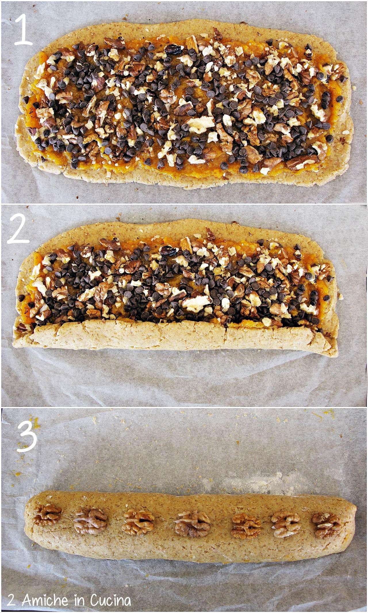 Biscotti al farro e orzo con cachi, noci e cioccolato passo passo