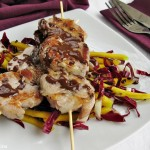 Filetto con insalata di mango e radicchio