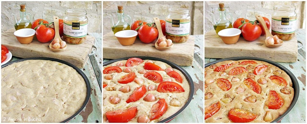 Focaccia con lampascioni e pomodori passo passo
