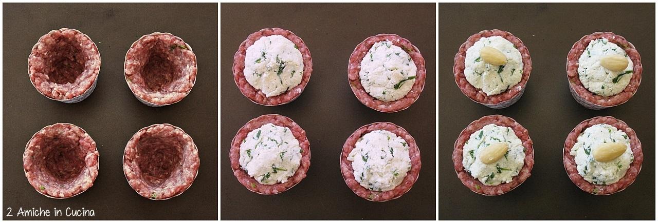 Muffin di carne con ricotta ed erbette  passo passo