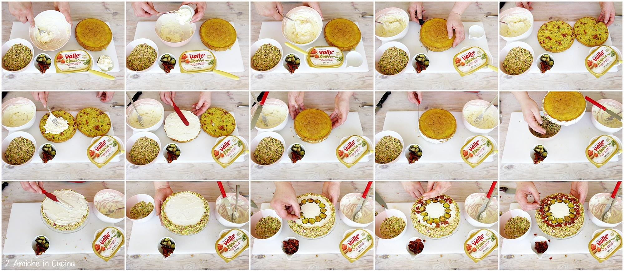 Passo passo per farcire una base salata con crema al formaggio