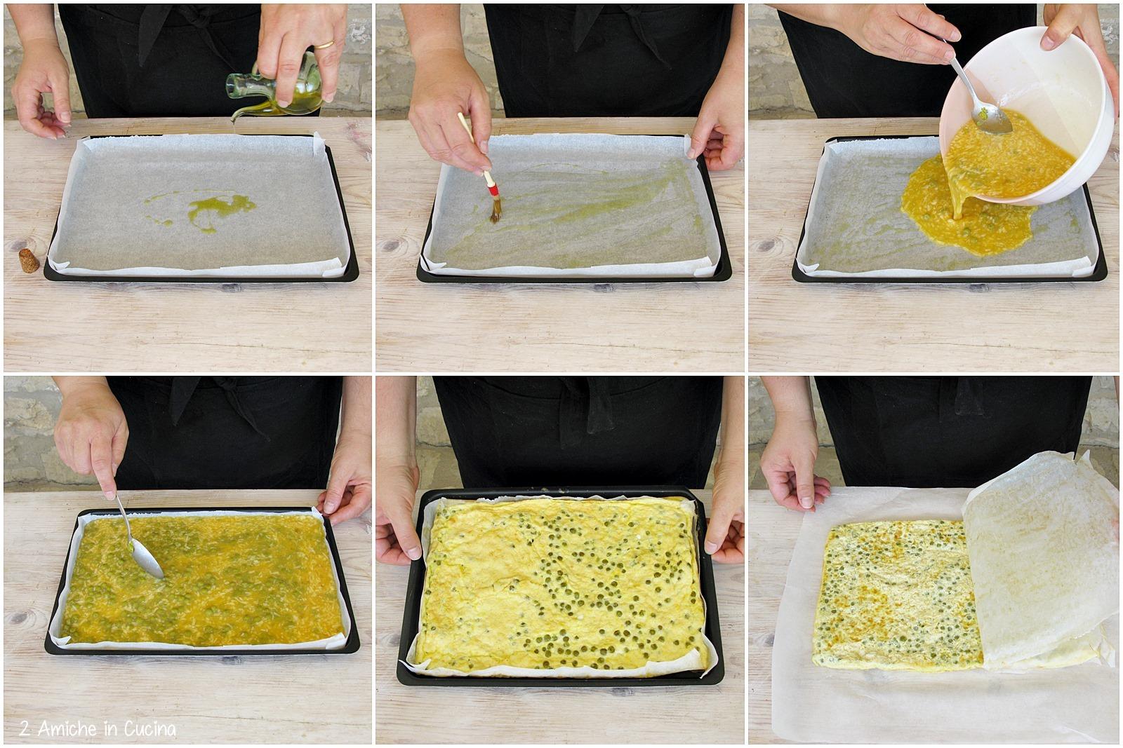Rotolo di frittata ai piselli con pancetta affumicata e formaggio