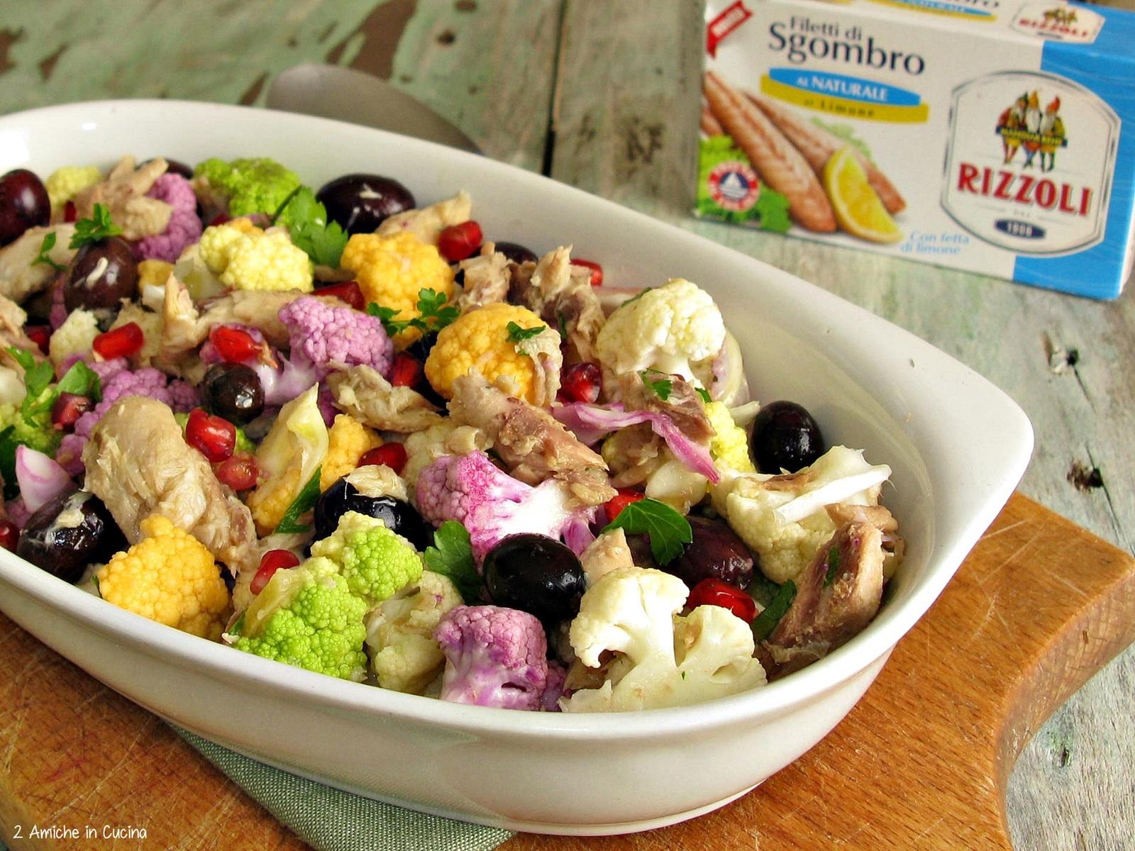 cavolfiori colorati con sgombro e olive
