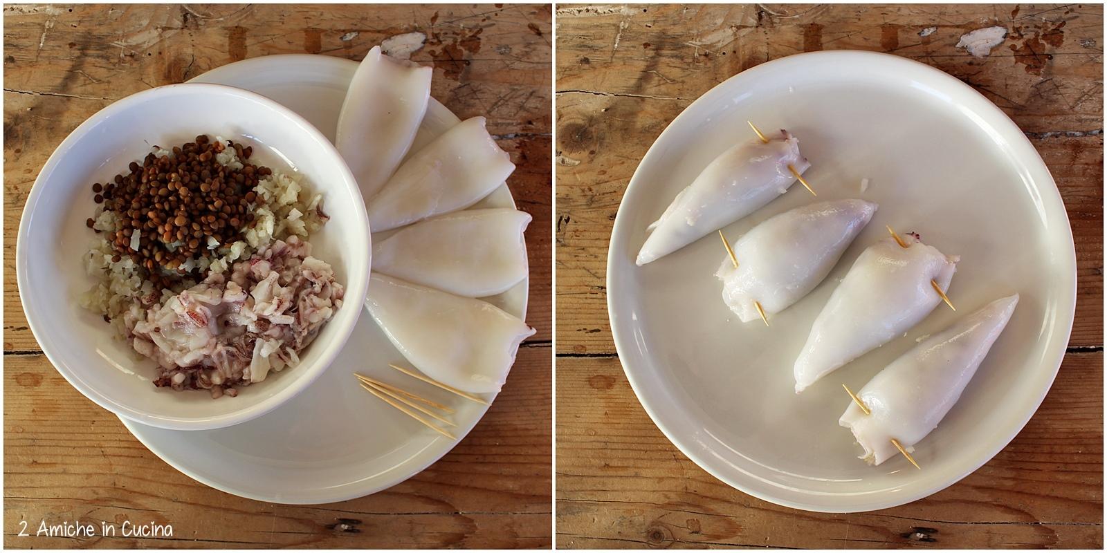 Calamari ripieni di lenticchie e topinambur