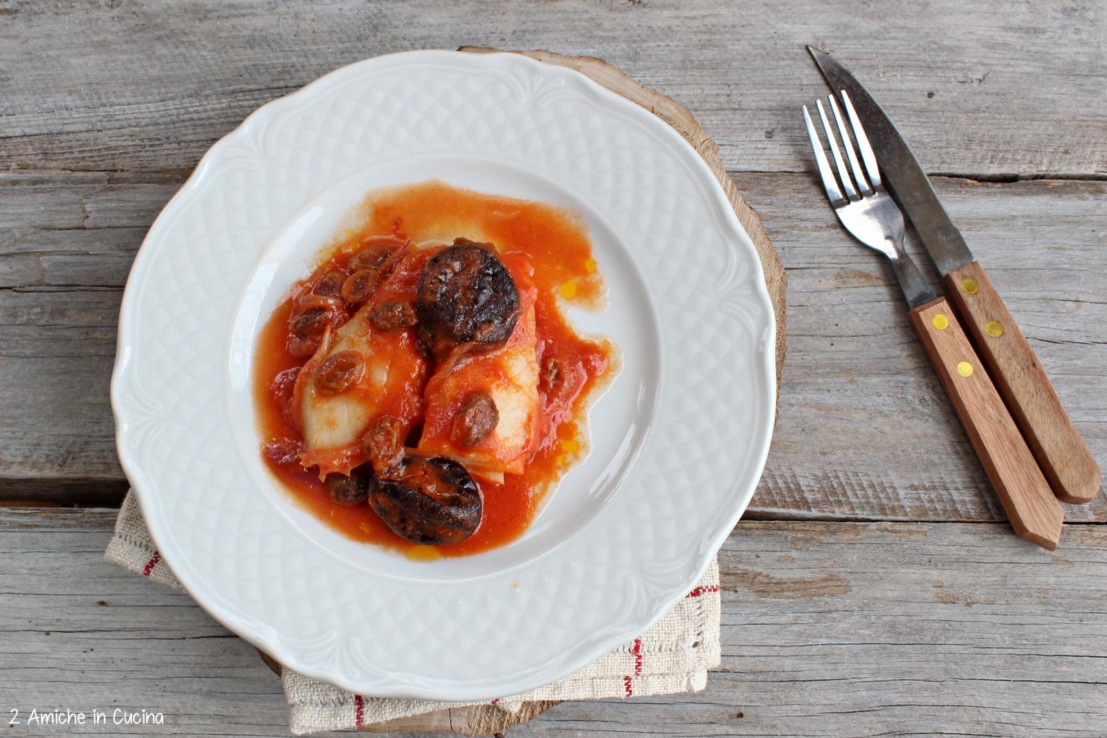 Baccalà con uvetta e prugne