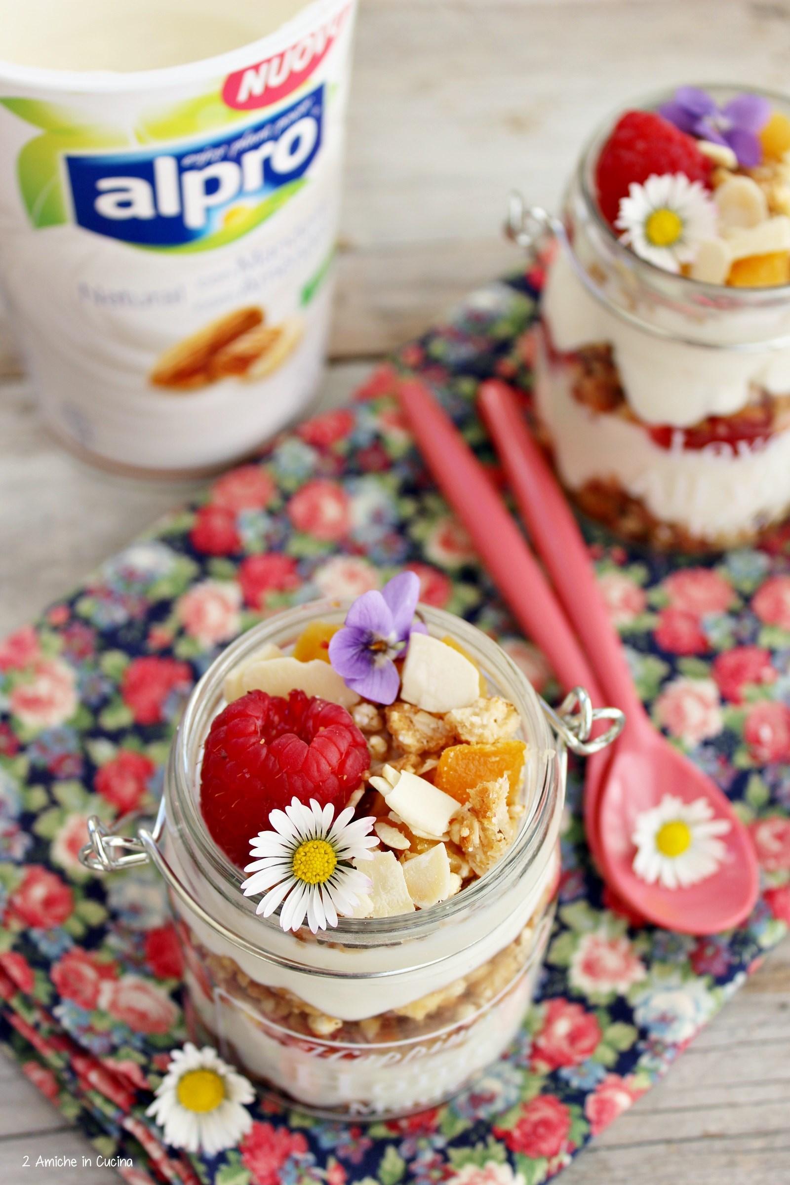 Yogurt vegetale alle mandorle con granola e lamponi