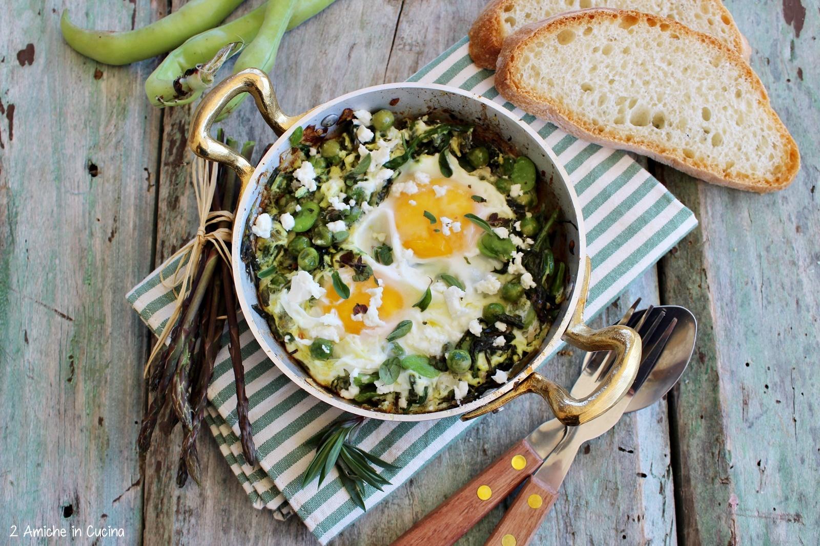 Uova al tegamino con verdure di primavera