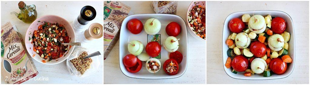 Pomodori e cipolle ripieni di cereali passo passo
