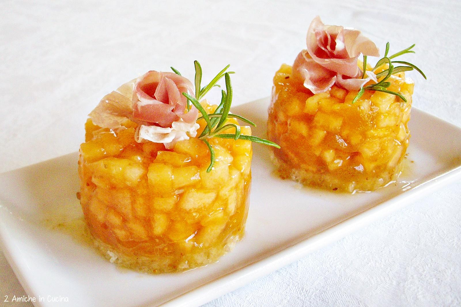 tartare di melone, fichi e prosciutto