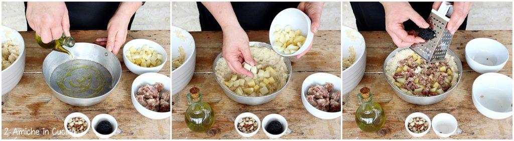 Sformato di patate e salsiccia con tartufo e nocciole passo passo 1