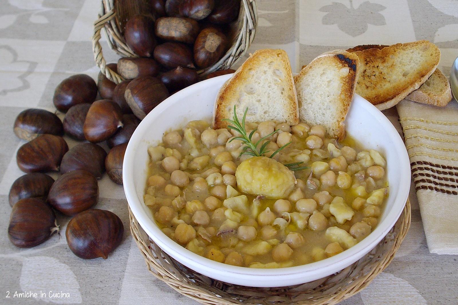 Zuppa di ceci e castagne-zuppe