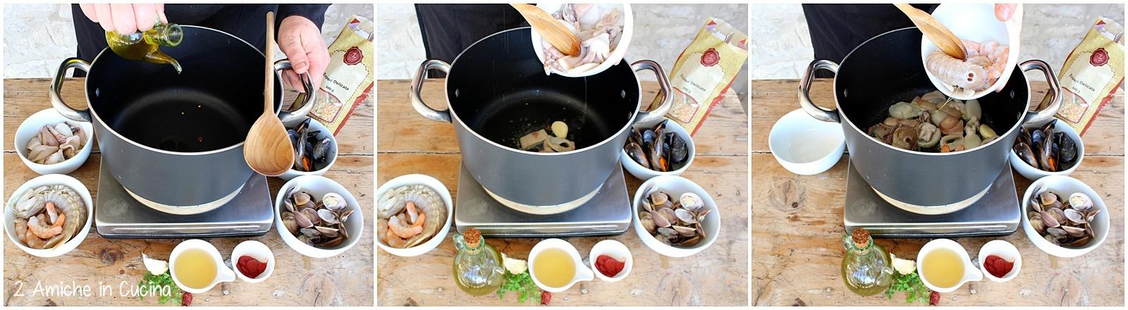Zuppa delicata con molluschi e crostacei passo passo