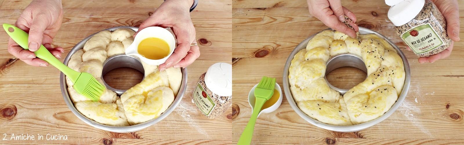 treccia di brioche alla ricotta, limone e mix di sesamo passo passo
