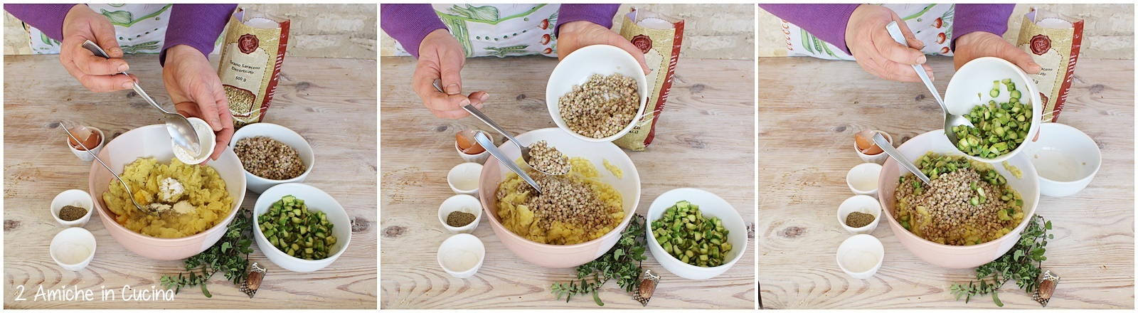 Burger di grano saraceno e patate con asparagi e maggiorana passo passo