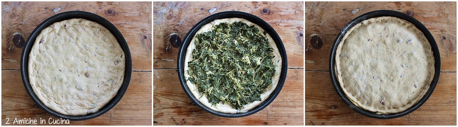 Focaccia alle olive taggiasche e cicoria passo passo