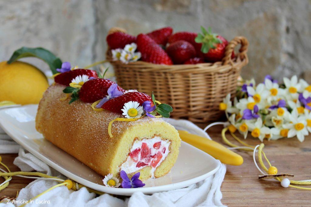 Rotolo al limone con panna e fragole