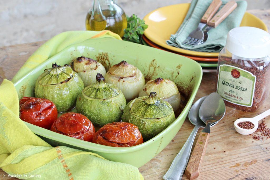 verdure ripiene-quinoa rossa- erbe aromatiche