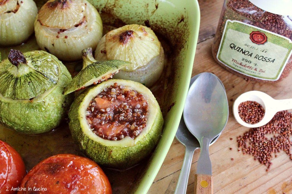 verdure ripiene di  quinoa rossa- erbe aromatiche