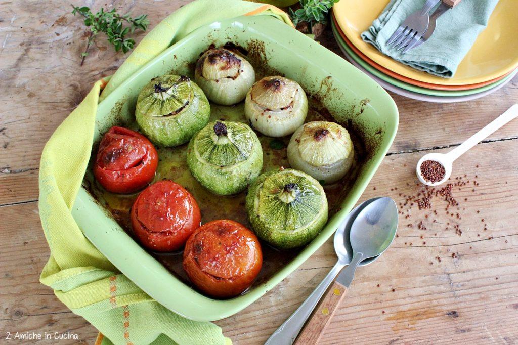 Verdure ripiene- quinoa rossa- erbe aromatiche- vegan