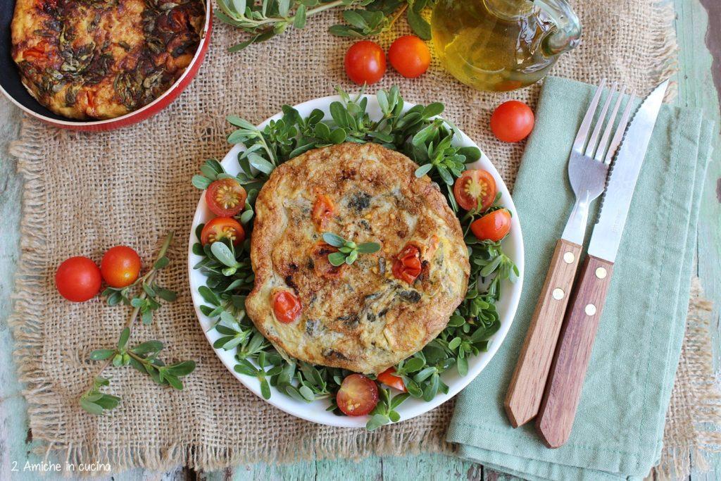 fritta con portulaca e pomodori ciliegino, ricetta facile e gustosa