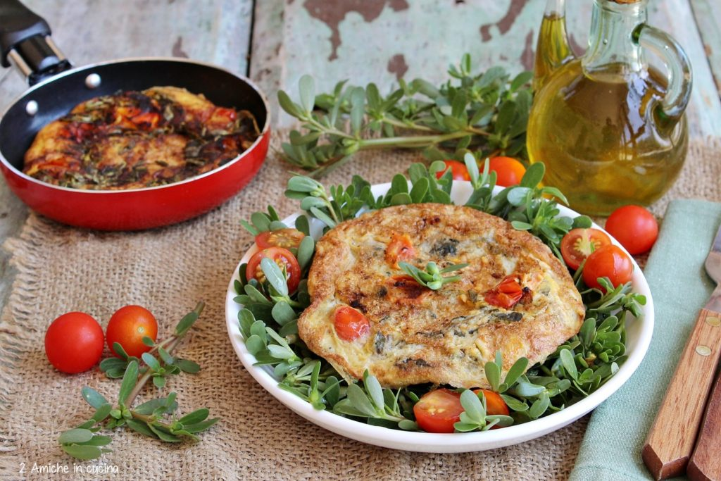 Frittata con portulaca e pomodorini 1