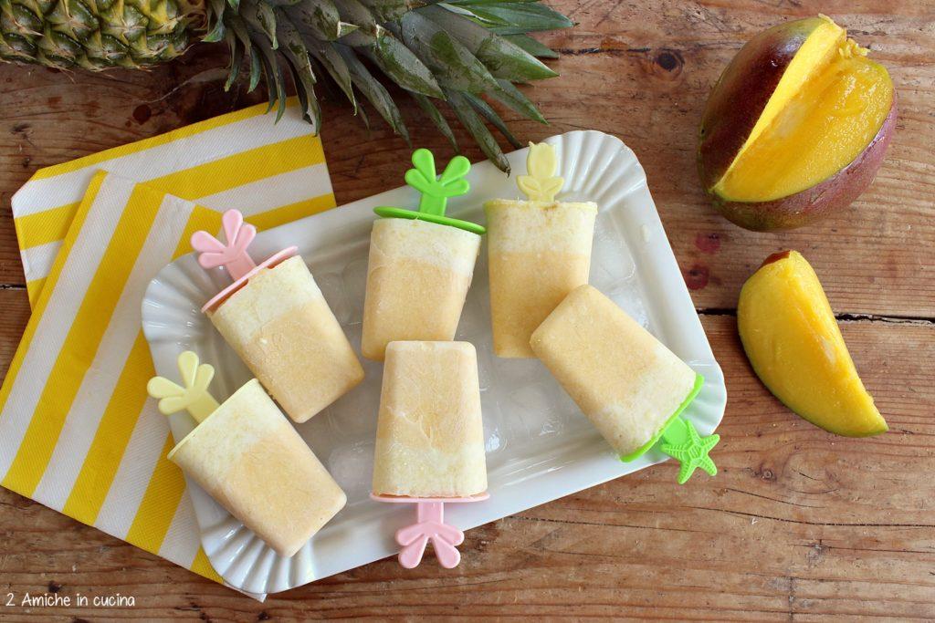 ghiaccioli al cocco fatti in casa con frutta esotica