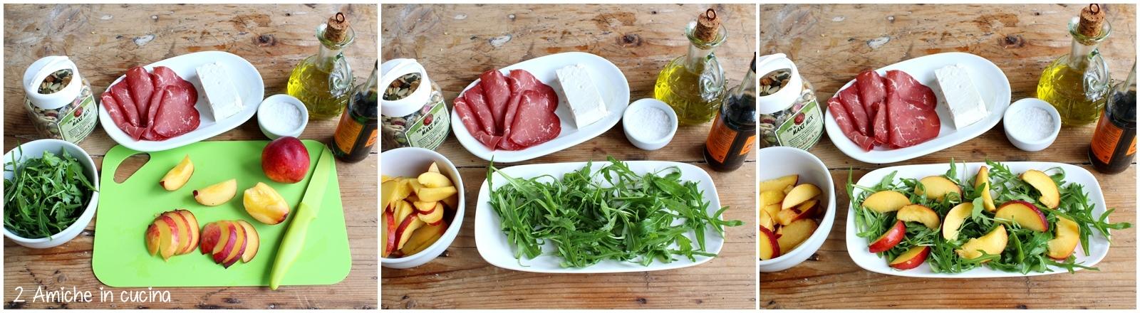 insalata di pesche estiva con rucola, bresaola e maxi mix