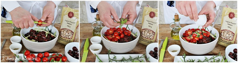 spaghetti di zucchine crude fagioli pomodori e aromatiche
