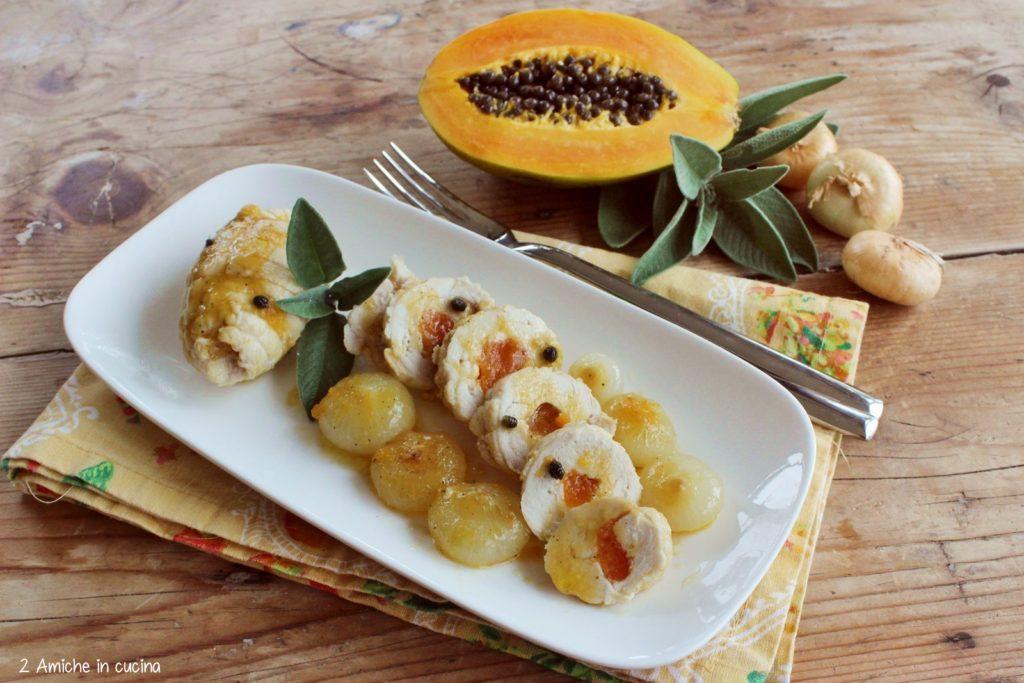Involtini di pollo e papaia con cipolla di Cannara e salvia, ricetta di Gianfranco Vissani per la Festa della cipolla di Cannara
