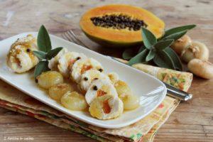 Involtini di pollo e papaia, con cipolla di Cannara e salvia, ricetta di Gianfranco Vissani per la Festa della cipolla di Cannara